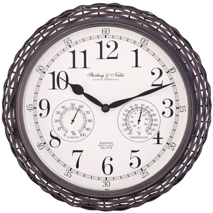 product image for Sterling & Noble Dark Woven Indoor/Outdoor Wall Clock in Brown