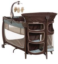 Safety 1st Satellite Premier Playard - storage shelves, hamper, mobile, changing table and a bassinet. $120 - this is so cool!