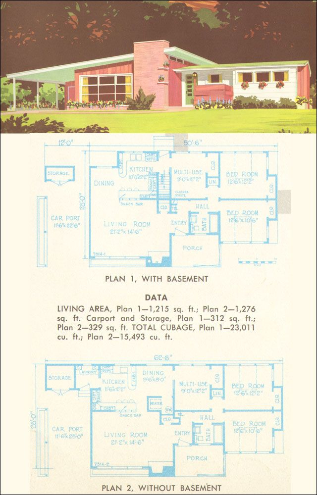 1215sf this plan could accommodate a family of four or five fairly easily by converting the modern home plansmodern homesmodern - 1950s Modern House Floor Plans