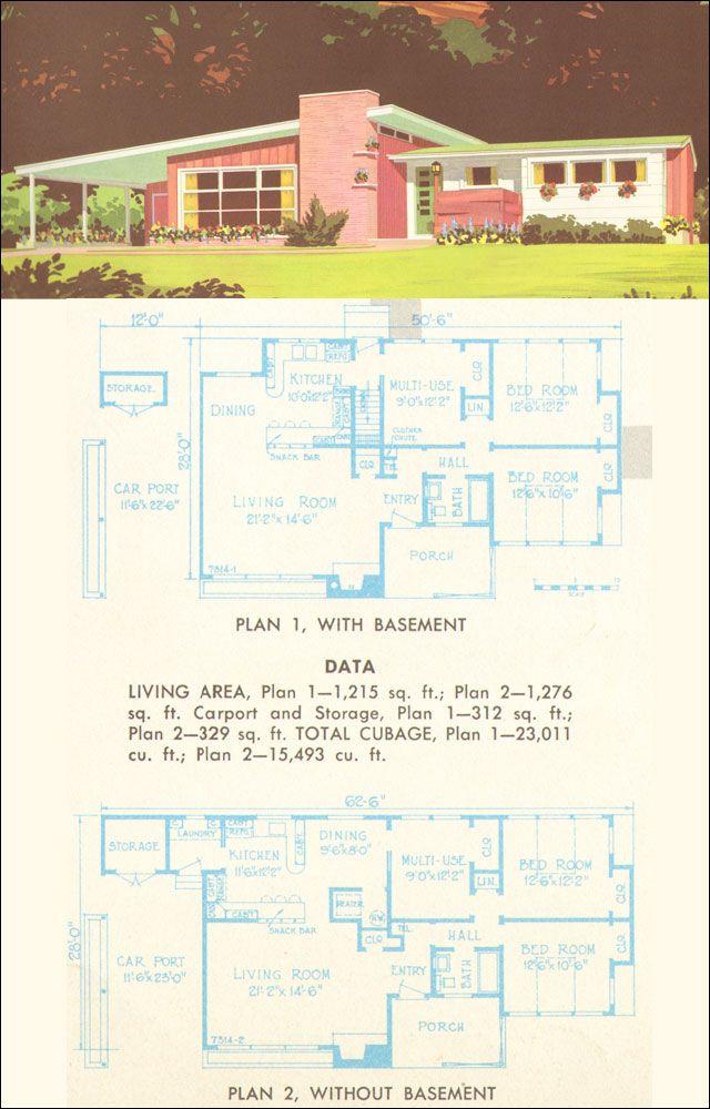 38 best Mid Century Floor Plans images on Pinterest Vintage house