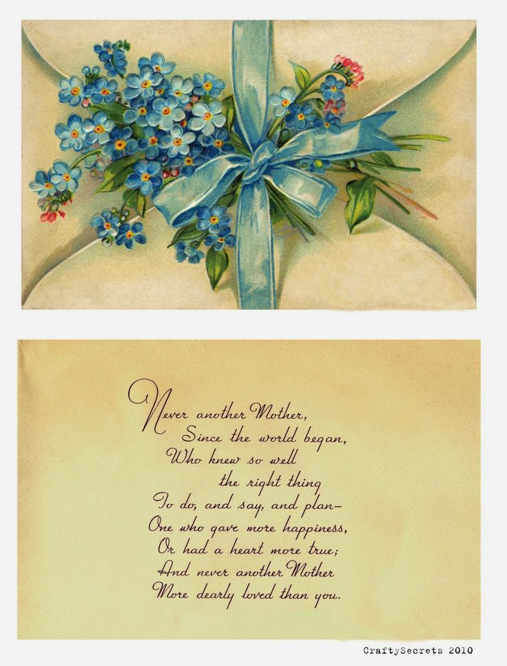 Pretty Mother`s Day Forget-Me Not Card and Poem from 2010 (for personal use only) re-posted on CraftySecrets Blog.  Also see Mother's Day Gift and Card Ideas, Sale and more Free Printables!