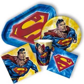 Superman Party Supplies- go w/ the insignia plate and maybe some napkins, do red, yellow, blue cups