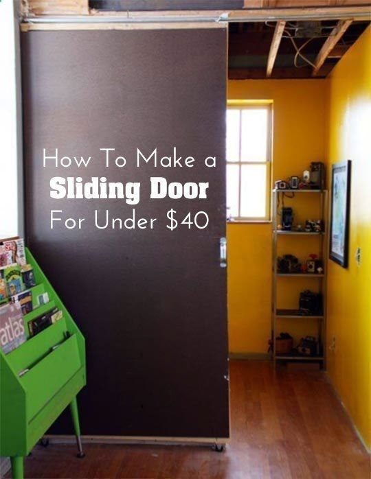 DIY How to Make a Sliding Door for Under $40! Using plumbing fixtures this project comes in just around the $35 range, then a few more for finishing touches Via apartment therapy
