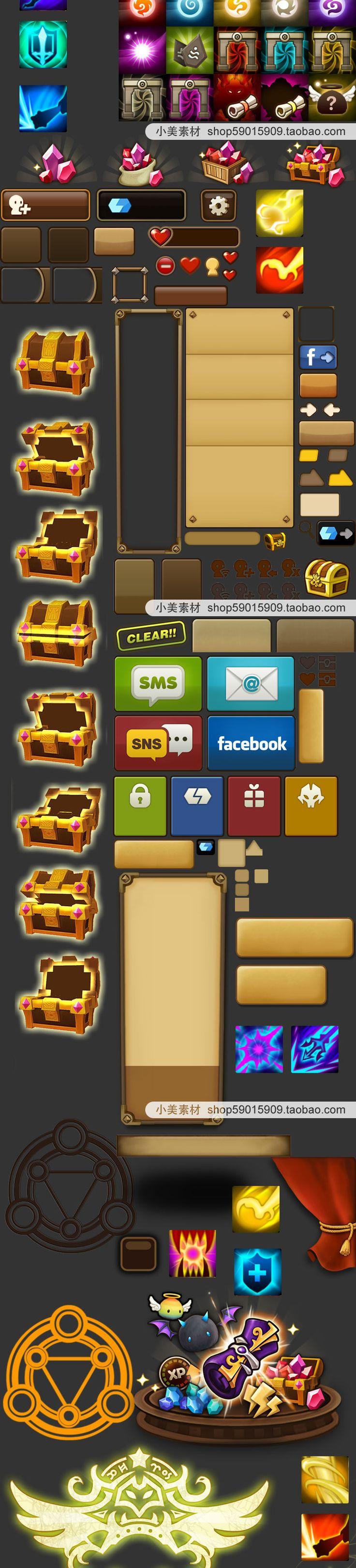游戏UI 美术资源 韩游 魇幻灵召 UI素材场景icon图标模型-淘宝网全球站