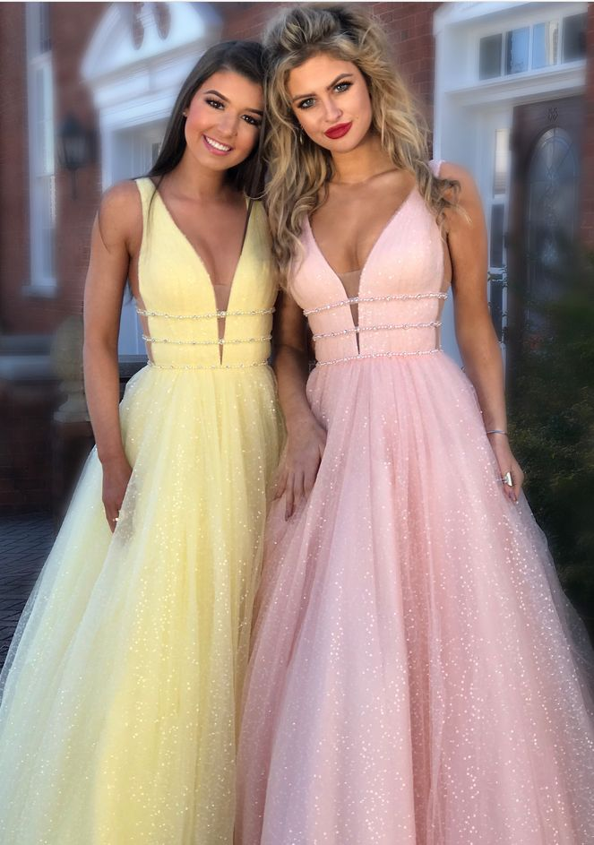 Long Prom Dress, Princess Yellow Long Prom Dress, Pink Long Prom Dress by prom dresses, $190.00 USD