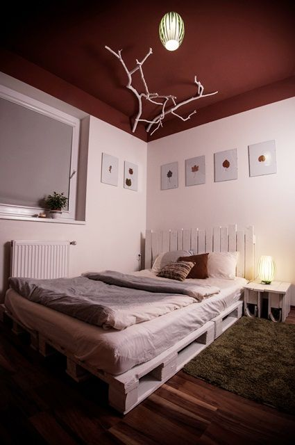 White bed made out of pallets  #Bed, #Branches, #Ceiling, #Pallets