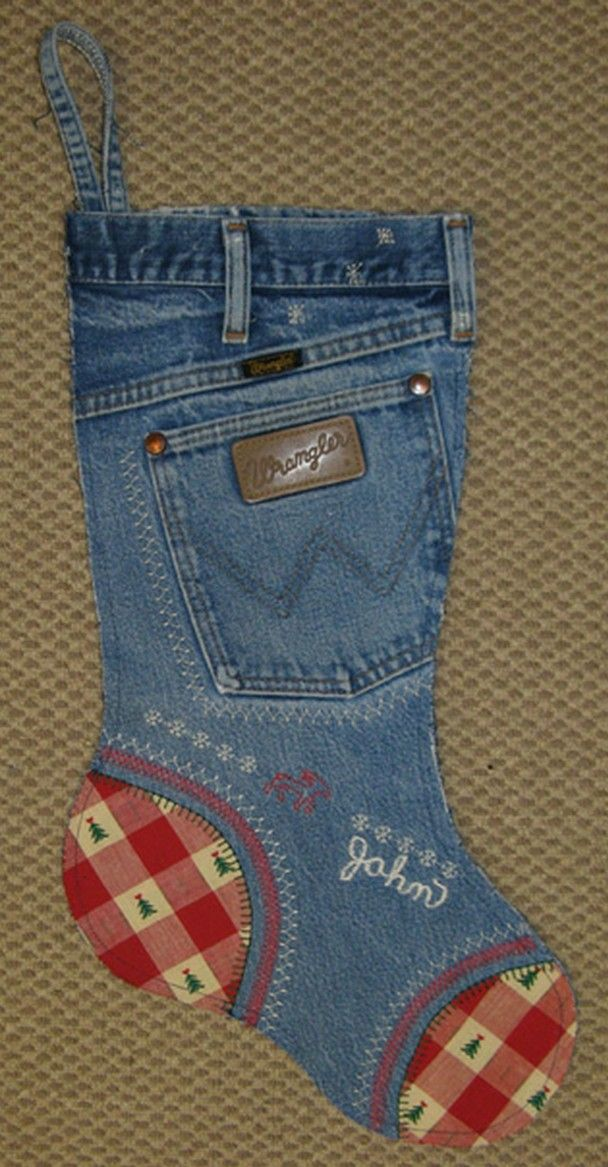 ❤ it . . . Wrangler Blue Jeans Stocking Tutorial- In October our quilt guild had a program on using old denim blue jeans to make Christmas stockings. They were so cute & looked easy to make so I decided to make them for our whole family & hang them on our fireplace for Christmas. ~By Lynn, Nebraska Views