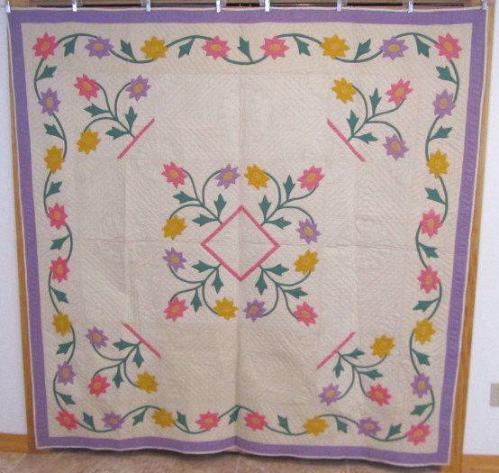 Show Stopper 1930s Floral Applique Antique Quilt Pink Lavender 78 x 77 Vines | eBay