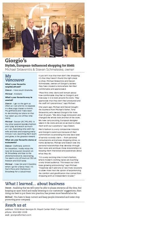 WE Vancouver Article on Giorgio's Men's Wear    {www.giorgiosformen.com}