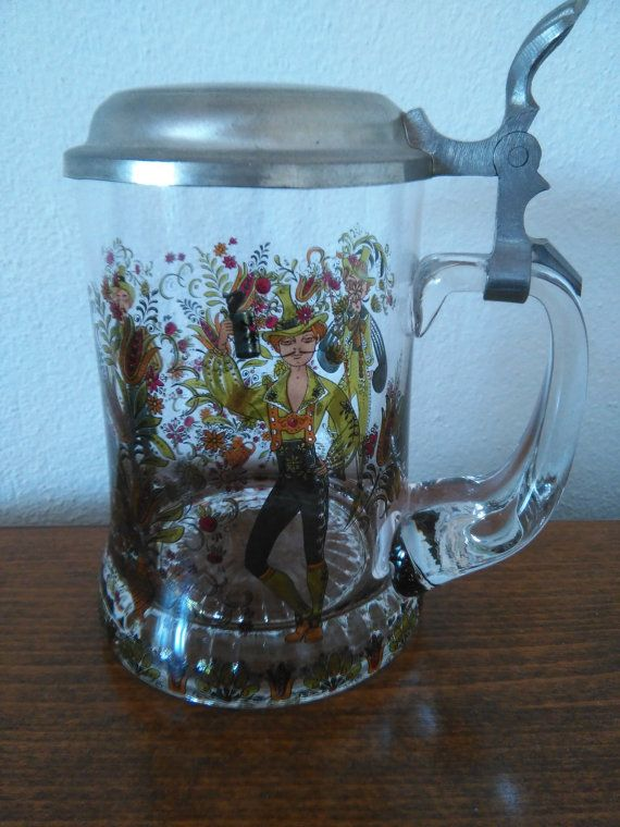 Alfed Taube Bier Stein With Pewter Lid by Gondara on Etsy