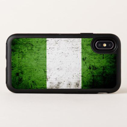 Black Grunge Nigeria Flag OtterBox Symmetry iPhone X Case - wood gifts ideas diy cyo natural