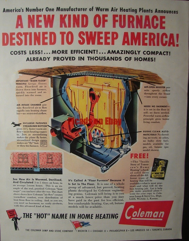 1944 Coleman Lamp And Stove Company Floor Level Floor Furnace Ad | EBay