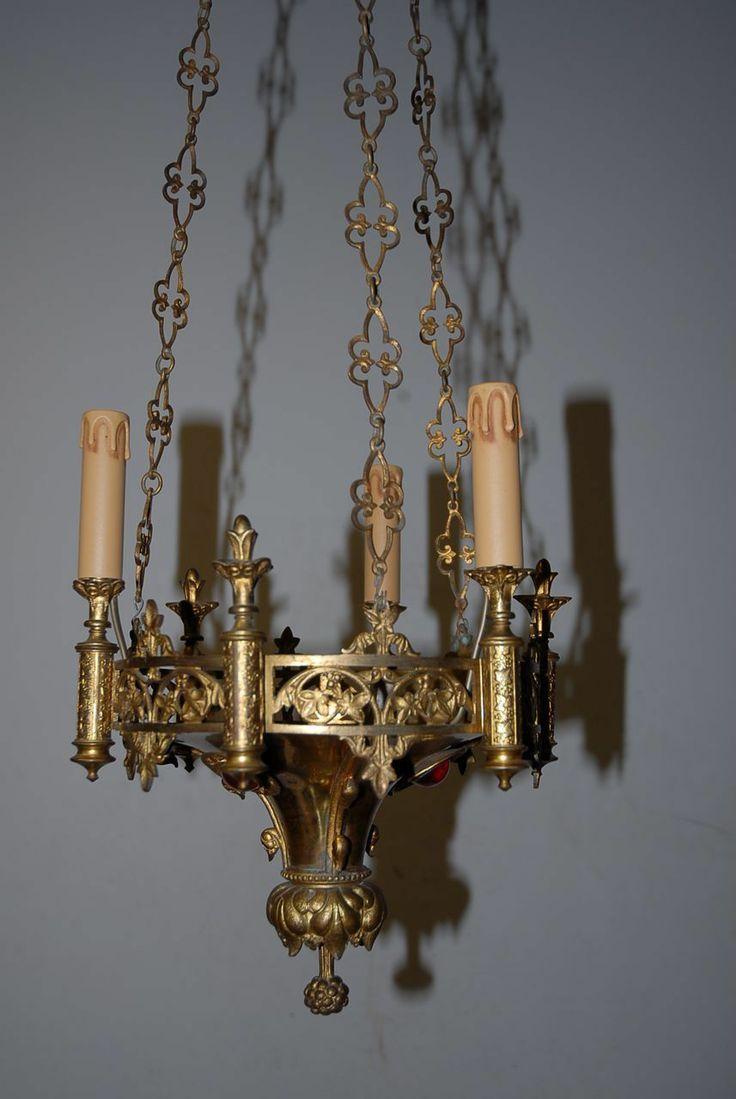 Antique Bronze neo-Gothic 3-light Chandelier - Library