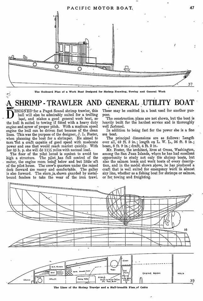Shrimp trawler designed by J. L. Foster of Orcas Washington. A boat with good speed and moderate power....a fine sea boat.