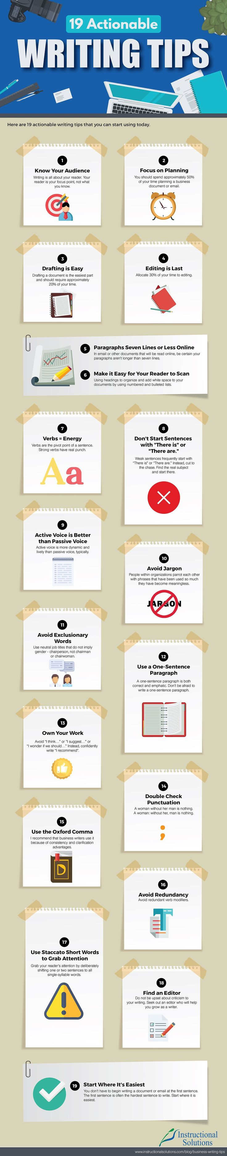 19 Actionable Writing Tips - Infographic - Writers Write