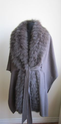 Would love a faux fur version of this.....Women'S NEW 100 Wool Cape Wrap Coat W FOX FUR Collar Fits From Size S TO 2XL | eBay