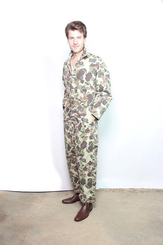 Mens Vintage Camouflage Jumpsuit Coveralls Sz 3840 by BadlandsVtg, $65.00