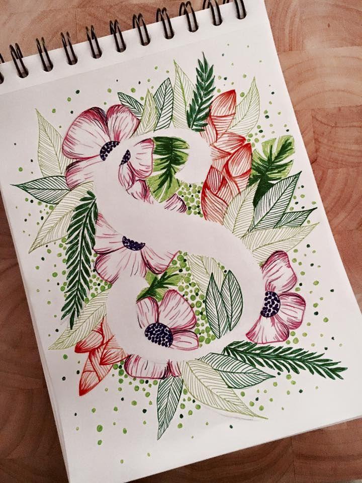 #art #design #zeichnen #letter #s #flowers #negativespace #lettering #drawing #sundaymood