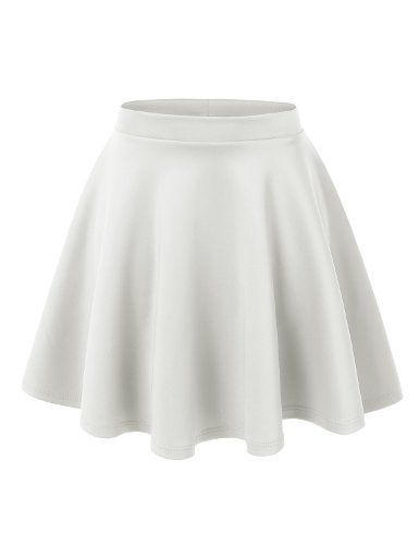 MBJ WB211 Womens Basic Versatile Stretchy Flared Skater Skirt L WHITE