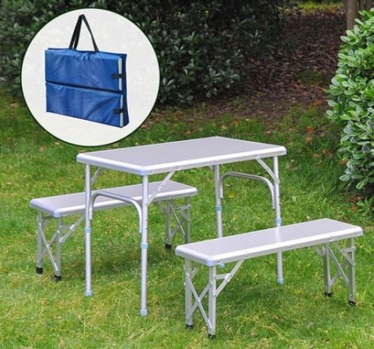 Aluminum Folding Picnic Table Bench Seat Portable Camping Outdoor Carry Case #Unbranded