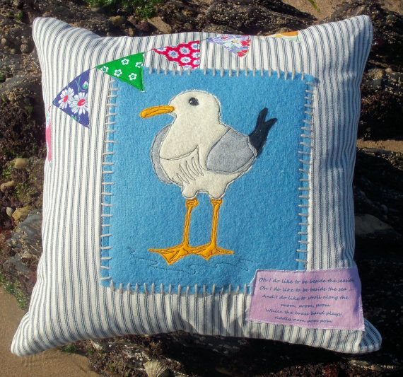Seaside Seagull Cushion Pillow Cover pdf Pattern by BustleandSew, $4.50