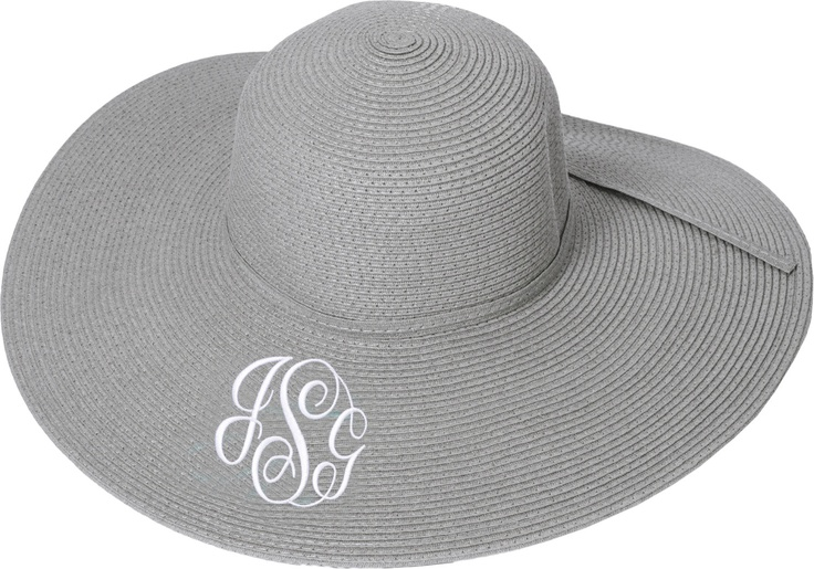 Womens Floppy Beach Hat in Gray Monogram - Gifts for the girls