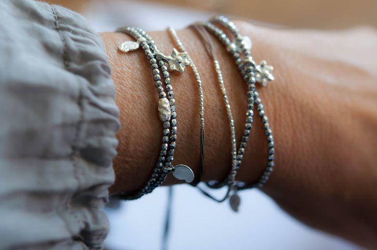 Silver Hematite double wrap bracelet