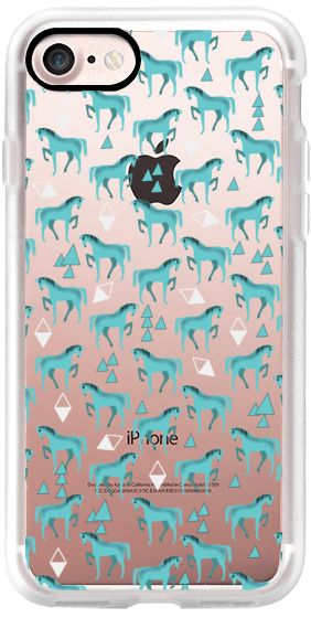 Casetify iPhone 7 Classic Grip Case - Horse Pattern - Turquoise Blue by elenor #Casetify