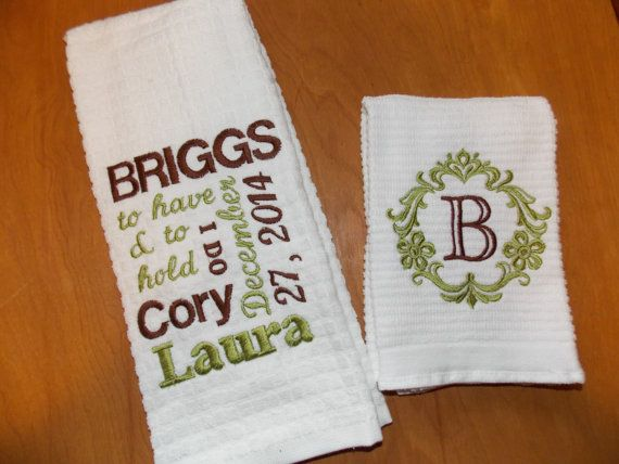 Personalised Wedding Gifts Towels : Personalized Kitchen Towel Set, Wedding Gift Set, Bridal Shower Gift ...