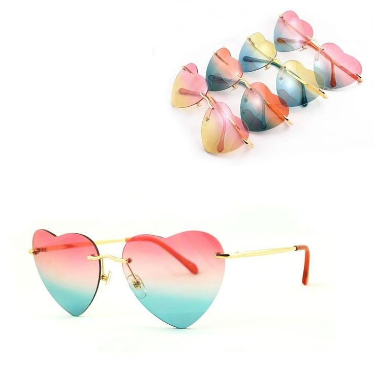 High Grade Heart-Shaped Rimless Glasses Sunglasses Frame Less Resin Lens Stylish