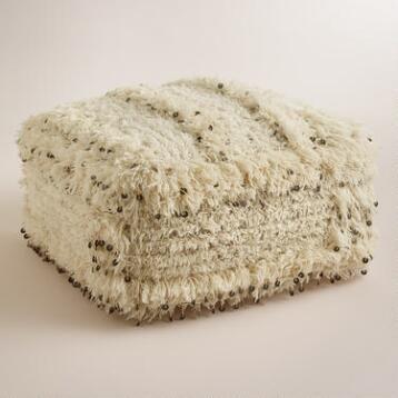 Oversized Moroccan Wool Pouf