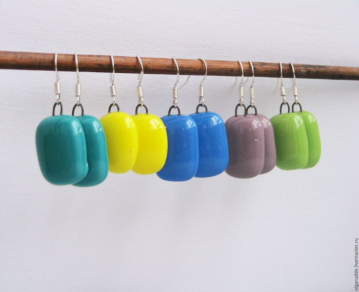 Купить Леденцы серьги из стекла. Фьюзинг - серьги ручной работы, серьги в подарок, повседневные серьги