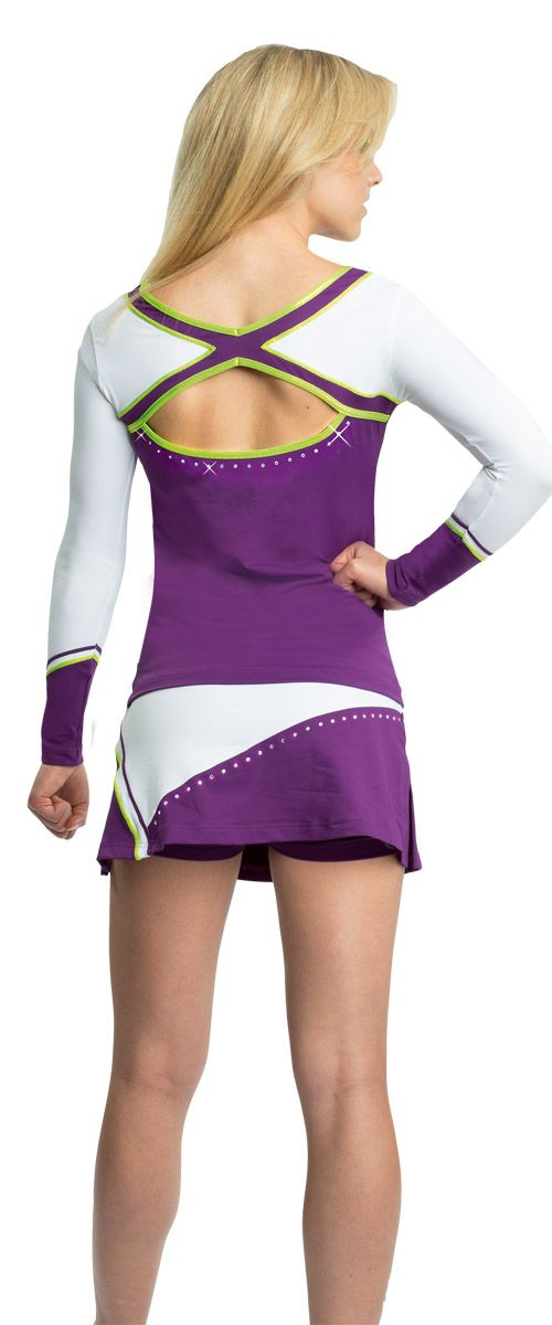 Ervy Uniform Seattle #Cheerleader #Uniform #Ervy #white #purple #lime #back
