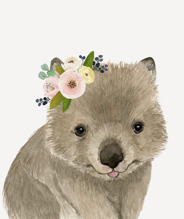 Cute baby wombat flower crown nursey print Australian