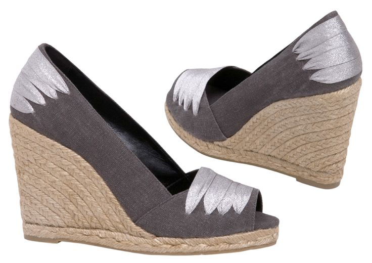 BONITA espadrilles at espadrillesetc.com  Knowing what she wants, BONITA creates her own style – unexpected and individual.   Cotton canvas peep toe upper with silver ribbon ...