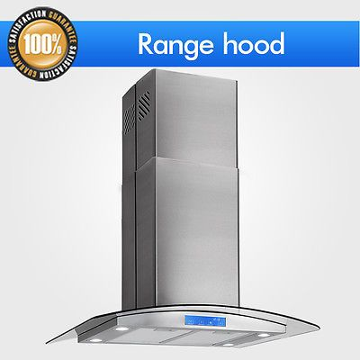 "30"" Stainless Steel Island Mount Glass Touch Panel Kitchen Range Hood Stove CFM"