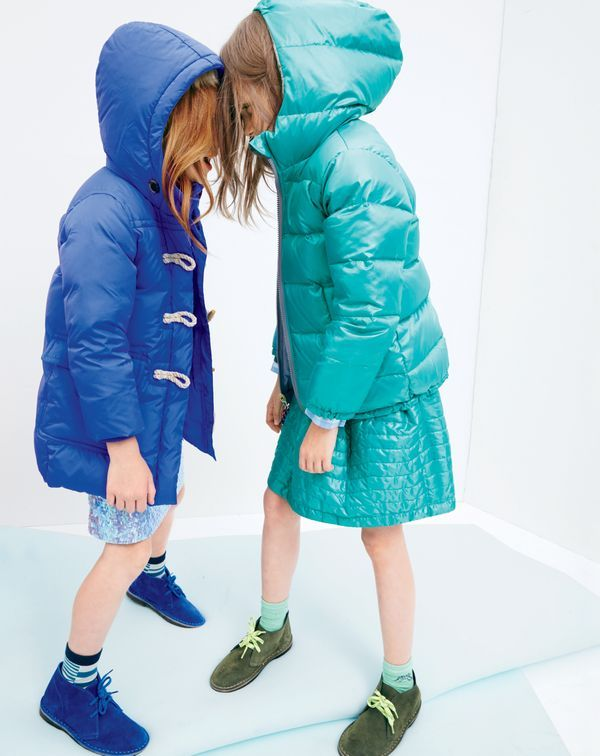 J.Crew girls' toggle puffer coat, pull-on sequin skirt, reversible puffer jacket, puffer skirt and suede MacAlister boots.