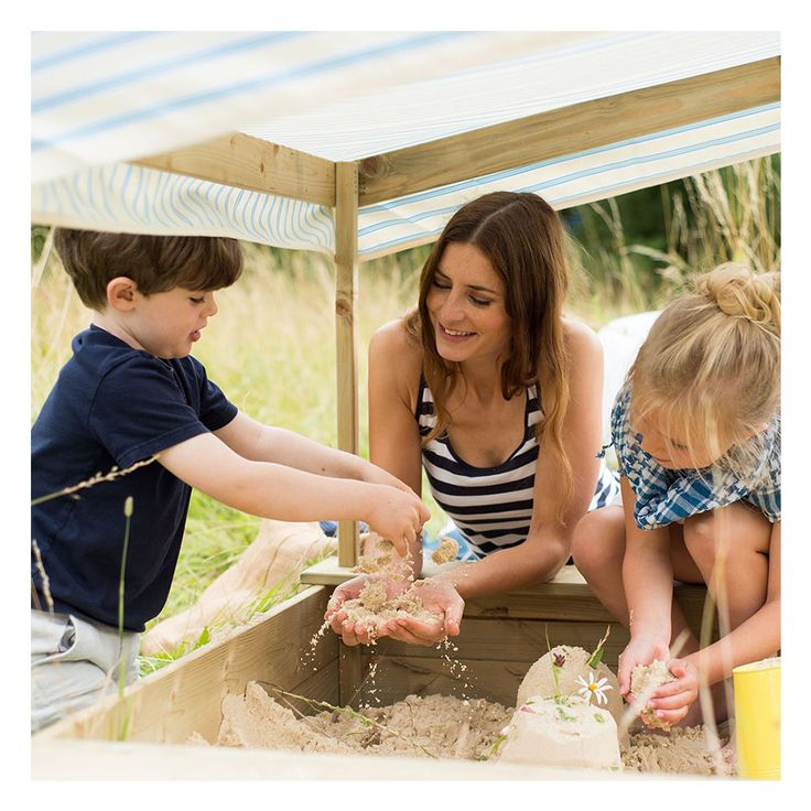 PLUM PALM BEACH WOODEN SAND PIT  Plum's Palm Beach Wooden and Pit has a fabric canopy in a nautical inspired print to help your little ones keep cool and shaded in the sun.    Don't forget your bucket and spade!   Suitable for little ones aged 18 months and up.