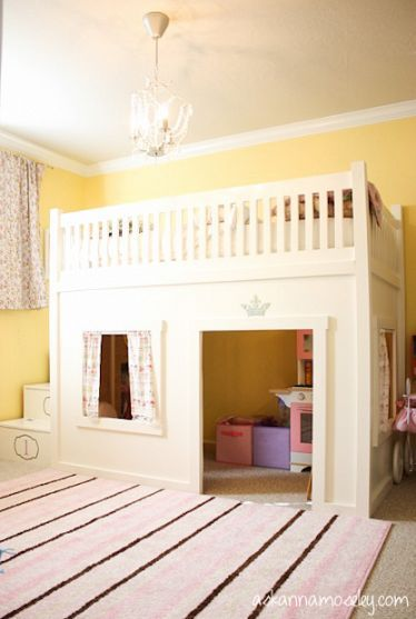 A Princess Bedroom with a Loft Bed. This is perfect, saves space and creates a room where any child would want to play