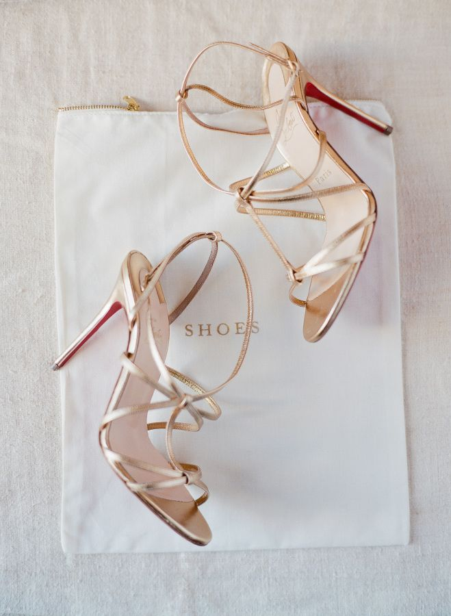 Strappy metallic gold: http://www.stylemepretty.com/2015/10/01/romantic-bridal-inspiration-with-trousseau-co/ | Photography: Jose Villa - http://josevilla.com/