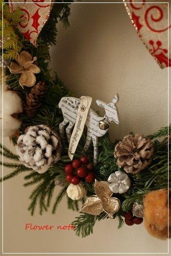 【今日の贈花】Flower note のクリスマスリース|Flower note の 花日記 (横浜・上大岡 アレンジメント教室)