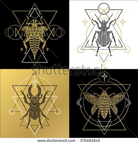 Insect spiritual geometric symbol set. Tattoo pictures. Vector illustration. - stock vector