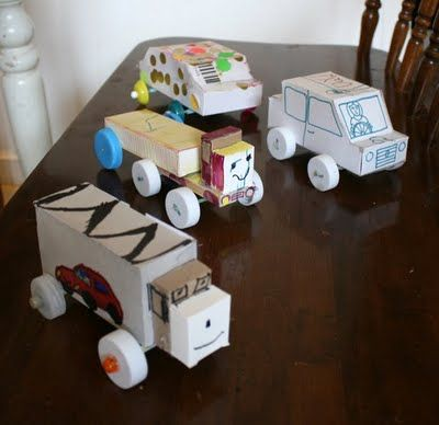 Cars made out of recycled items!     I can envision a family program with boxes and boxes of recycled items to use for parts.     This idea would be good for elementary kids, too.