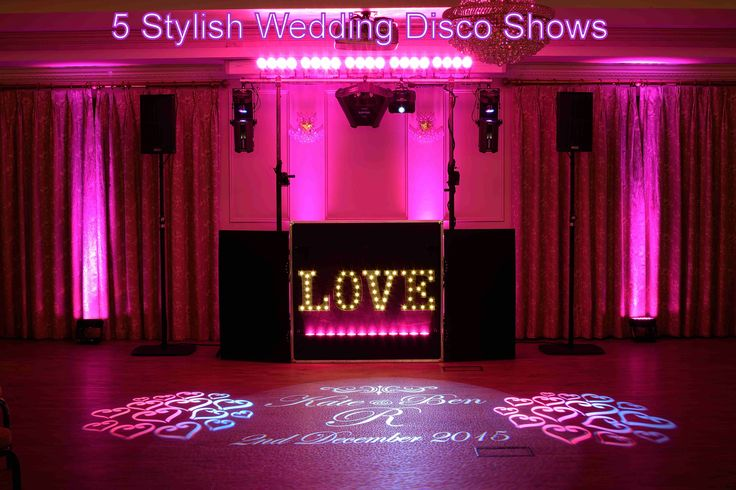 A choice of modern stylish shows especially designed for weddings with love heart gobos and your names projected onto the dancefloor - DJ Martin Lake
