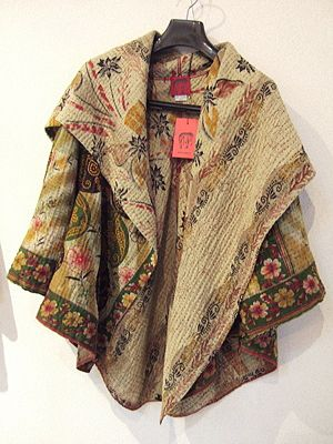 Mieko Mintz jackets made of Kantha quilts consisting of 5 layers of cotton vintage saris with hand stitching throughout. The fabric is from West Bengal and Rajasthan