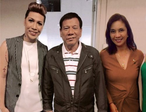 Vice Ganda with duly elected President Rodrigo Duterte and VP Leni Robredo.