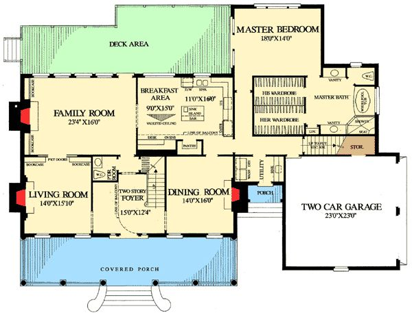 Country home plan with high ceilings - House plans high ceilings ...