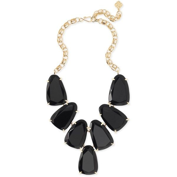 Harlow Gold Statement Necklace in Black | Kendra Scott ($195) ❤ liked on Polyvore featuring jewelry, necklaces, statement necklaces, gold jewelry, statement bib necklace, yellow gold jewelry and gold jewellery