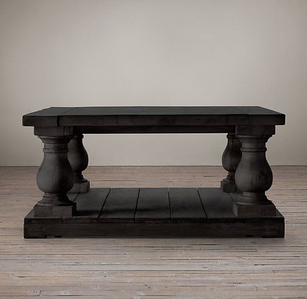 Balustrade Salvaged Wood Coffee Table Square Salvaged Black