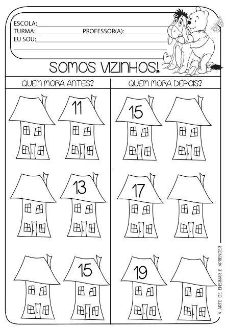 EDUCAÇÃO INFANTIL: ATIVIDADE PARA IMPRIMIR NÚMEROS VIZINHOS - SUCESSO...